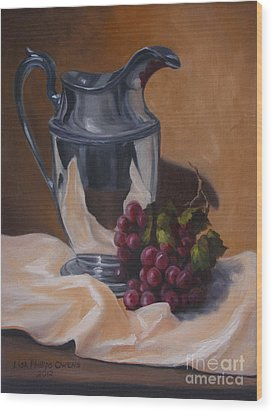Water Pitcher With Fruit Wood Print by Lisa Phillips Owens