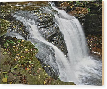 Water Rushes Forth Wood Print by Frozen in Time Fine Art Photography