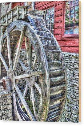 Water Wheel On Mill Wood Print by John Straton