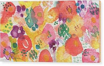 Watercolor Garden Wood Print by Linda Woods