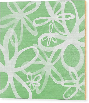 Waterflowers- Green And White Wood Print by Linda Woods