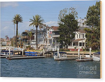 Waterfront Luxury Homes In Orange County California Wood Print by Paul Velgos
