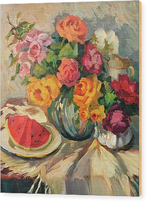 Watermelon And Roses Wood Print by Diane McClary