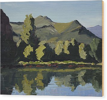 Watson Lake Wood Print by Mary Giacomini