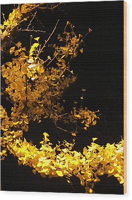 Wave Of Yellow Wood Print by Guy Ricketts