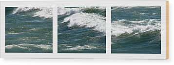 Waves Triptych Ll Wood Print by Michelle Calkins