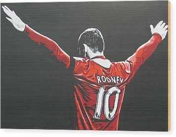 Wayne Rooney - Manchester United Fc 2 Wood Print by Geo Thomson