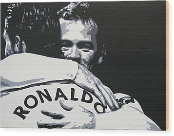 Wayne Rooney And Ronaldo - Manchester United Fc Wood Print by Geo Thomson