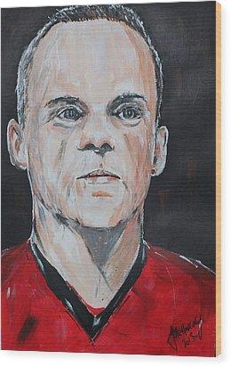 Wayne Rooney Wood Print by John Halliday