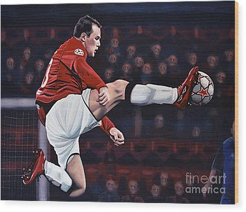 Wayne Rooney Wood Print by Paul Meijering