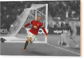 Wayne Rooney Scores Again Wood Print by Brian Reaves