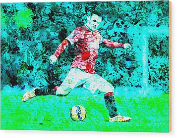 Wayne Rooney Splats Wood Print by Brian Reaves