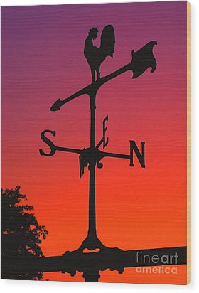 Weathervane At Sunset Wood Print by Nick Zelinsky