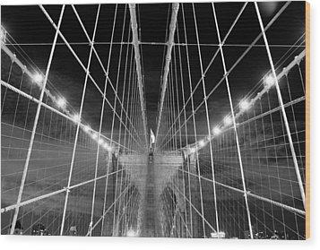Web Of The Brooklyn Bridge Wood Print by Kenan BUYUK SUNETCI