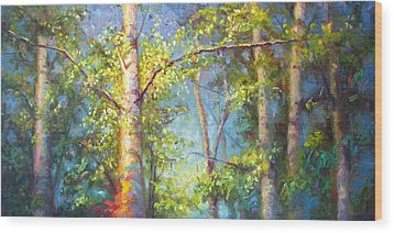 Welcome Home - Birch And Aspen Trees Wood Print by Talya Johnson