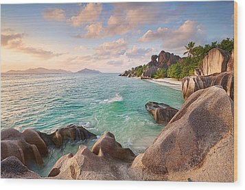 Welcome To La Digue Wood Print by Michael Breitung