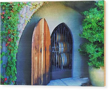 Welcome To The Winery Wood Print by Elaine Plesser