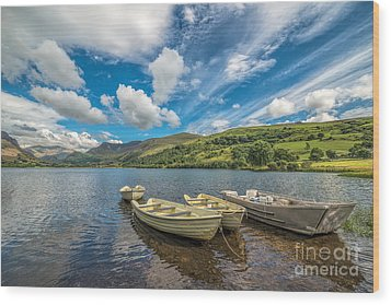 Welsh Boats Wood Print by Adrian Evans
