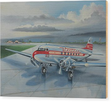 Western Airlines Dc-3 Wood Print by Stuart Swartz