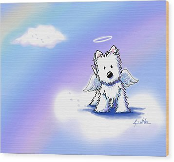 Westie Angel At Rainbow Bridge Wood Print by Kim Niles