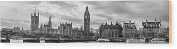 Westminster Panorama Wood Print by Heather Applegate