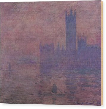 Westminster Tower Wood Print by Claude Monet