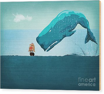 Whale Wood Print by Mark Ashkenazi