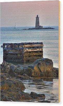 Whaleback Lighthouse Wood Print by Brett Pelletier