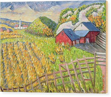 Wheat Harvest Kamouraska Quebec Wood Print by Patricia Eyre