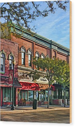 Wheaton Front Street Stores Wood Print by Christopher Arndt
