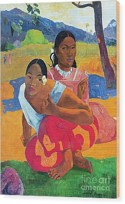 When Are You Getting Married Wood Print by Paul Gauguin