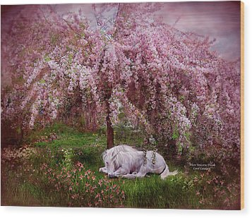 Where Unicorn's Dream Wood Print by Carol Cavalaris