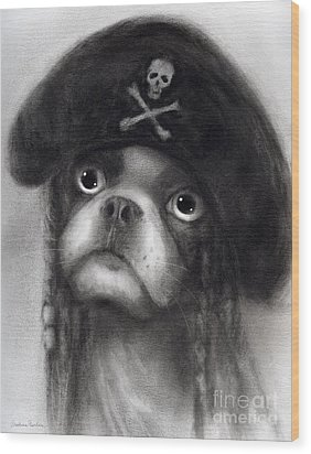 Whimsical Funny French Bulldog Pirate  Wood Print by Svetlana Novikova