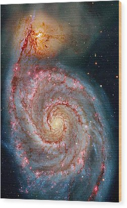 Whirlpool Galaxy In Dust Wood Print by Benjamin Yeager
