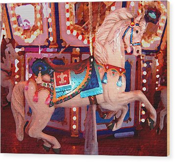 White Carousel Horse Wood Print by Amy Vangsgard
