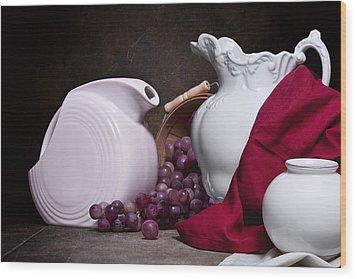 White Ceramic Still Life Wood Print by Tom Mc Nemar