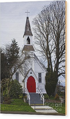 White Church With Red Door Wood Print by Elena Nosyreva