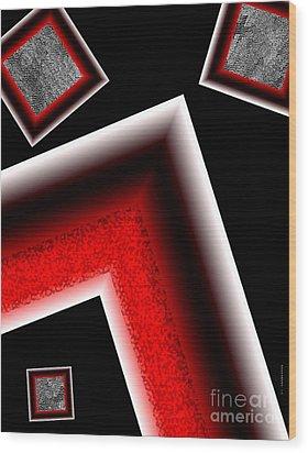 White Edges Geometric Art Wood Print by Mario Perez