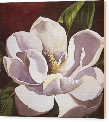 White Magnolia With Red Wood Print by Alfred Ng