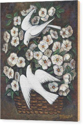 White On White Wood Print by Linda Mears