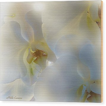 White Orchids Wood Print by Mikki Cucuzzo