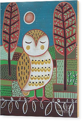 White Owl Wood Print by Karla Gerard