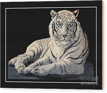 White Tiger Wood Print by DiDi Higginbotham