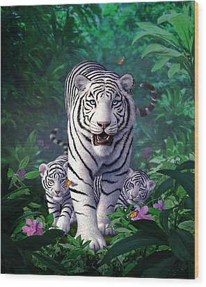 White Tigers Wood Print by Jerry LoFaro