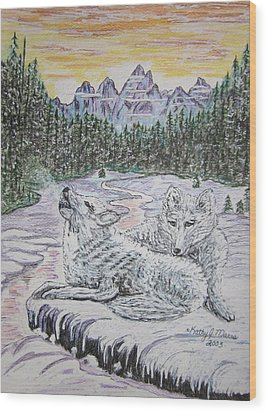 White Wolves Wood Print by Kathy Marrs Chandler