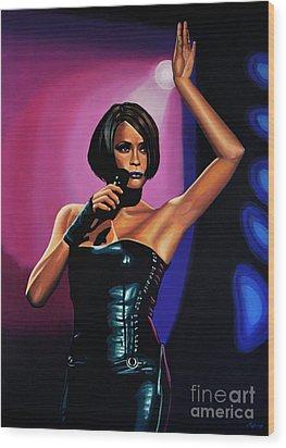 Whitney Houston On Stage Wood Print by Paul Meijering