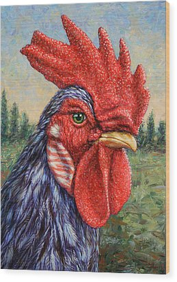 Wild Blue Rooster Wood Print by James W Johnson