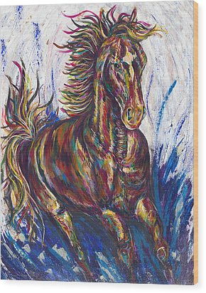 Wild Mustang Wood Print by Lovejoy Creations