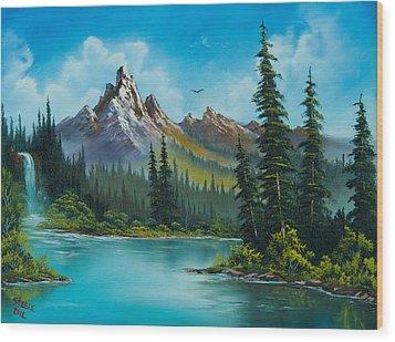 Wilderness Waterfall Wood Print by C Steele
