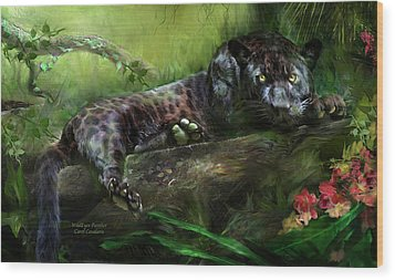 Wildeyes - Panther Wood Print by Carol Cavalaris